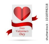 white banner with red heart... | Shutterstock .eps vector #1018598218