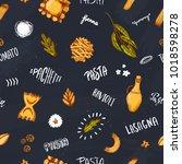 pasta seamless pattern design...   Shutterstock .eps vector #1018598278