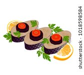 color image of gefilte pike... | Shutterstock .eps vector #1018598584