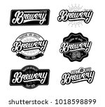 retro brewery  hand written... | Shutterstock .eps vector #1018598899