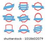 vector blue   red set badge ... | Shutterstock .eps vector #1018602079