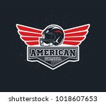 american football emblem with... | Shutterstock .eps vector #1018607653