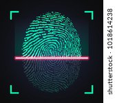 laser scanning of fingerprint ... | Shutterstock .eps vector #1018614238