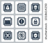 vector icon set of cpu critical ... | Shutterstock .eps vector #1018614250