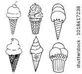 set ice cream cone variety... | Shutterstock .eps vector #1018617238