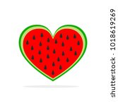 watermelon in the shape of... | Shutterstock .eps vector #1018619269