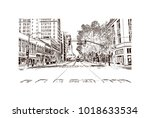 street view with downtown area... | Shutterstock .eps vector #1018633534