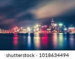 scenic nighttime skyline of... | Shutterstock . vector #1018634494