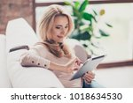 concept of coziness and leisure ... | Shutterstock . vector #1018634530