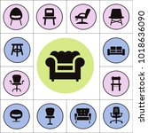 chair and sofa isolated flat... | Shutterstock .eps vector #1018636090