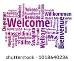 welcome word cloud in different ... | Shutterstock .eps vector #1018640236