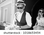 the charming bride and groom... | Shutterstock . vector #1018653454