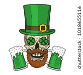 the skull of saint patrick's... | Shutterstock .eps vector #1018655116