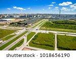 highway scene top view. highway ... | Shutterstock . vector #1018656190