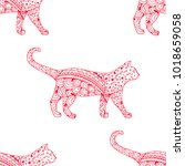 cat. seamless pattern.... | Shutterstock . vector #1018659058