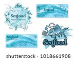 set with seafood. isolated on... | Shutterstock .eps vector #1018661908
