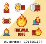 set of firewall logo.... | Shutterstock .eps vector #1018661974
