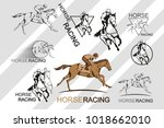 set of horse racing. jockey on... | Shutterstock .eps vector #1018662010