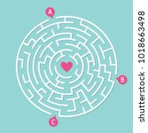 round labyrinth maze game  find ... | Shutterstock .eps vector #1018663498
