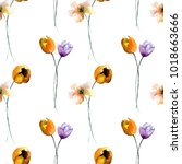 seamless wallpaper with spring... | Shutterstock . vector #1018663666