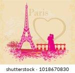 romantic couple in paris  ...   Shutterstock .eps vector #1018670830