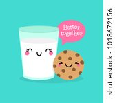 cute cookie and a glass of milk ... | Shutterstock .eps vector #1018672156