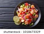 delicious ceviche of shrimp... | Shutterstock . vector #1018673329