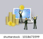 bitcoin concept businessmen ... | Shutterstock .eps vector #1018673599