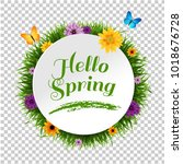 banner with grass border... | Shutterstock .eps vector #1018676728