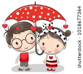 cute cartoon boy and girl with... | Shutterstock .eps vector #1018677364