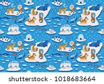 seamless pattern with... | Shutterstock .eps vector #1018683664