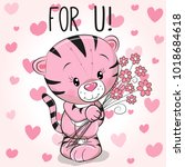 valentine card cute cartoon...   Shutterstock . vector #1018684618