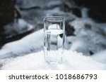a transparent glass glass with... | Shutterstock . vector #1018686793