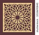 laser cutting panel. golden... | Shutterstock .eps vector #1018690840