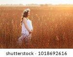 the pregant girl walking along...   Shutterstock . vector #1018692616