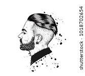 stylish man with a beard. man...   Shutterstock .eps vector #1018702654