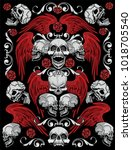 gothic textures with skull ... | Shutterstock .eps vector #1018705540