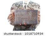 business man holding laptop... | Shutterstock . vector #1018710934
