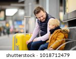 cute little boy and his father... | Shutterstock . vector #1018712479