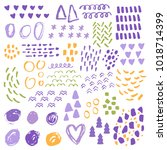 vector set of textured abstract ... | Shutterstock .eps vector #1018714399