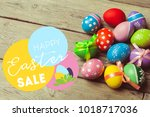 happy easter background  | Shutterstock . vector #1018717036