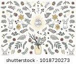 hand sketched floral design... | Shutterstock .eps vector #1018720273