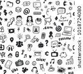 hand drawn social media ... | Shutterstock .eps vector #1018724080