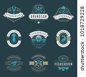 seafood restaurant logos set... | Shutterstock .eps vector #1018729228