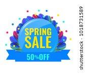 spring discount concept banner... | Shutterstock .eps vector #1018731589