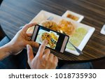 social media through mobile...   Shutterstock . vector #1018735930