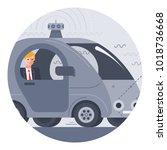 autonomous driverless car with... | Shutterstock .eps vector #1018736668