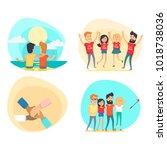 celebrating friendship day... | Shutterstock . vector #1018738036