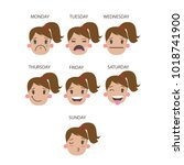faces of working week days.... | Shutterstock . vector #1018741900