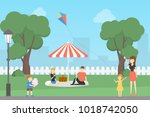 people at park having fun ... | Shutterstock . vector #1018742050